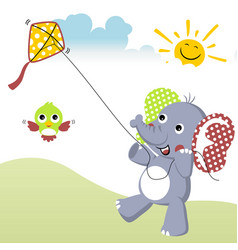 playing kite at summer with elephant cartoon and vector image