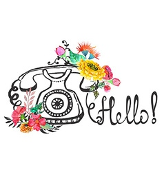 retro graphic phone and watercolor flowers vector image
