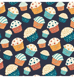 Seamless cupcake pattern vector