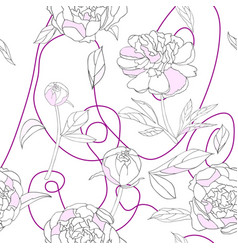 seamless pattern white pink peony vector image