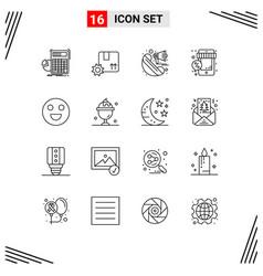 Set 16 outlines on grid for shop sale gear vector