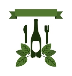 Set bottle wine and goblet with leaves and cutlery vector