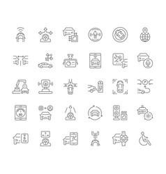 Set simple icons autonomous car vector