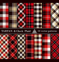 set tartan check plaid seamless patterns vector image