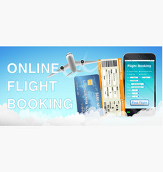 smartphone online flight booking and credit card vector image