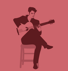 Spanish guitarist playing flamenco sitting on a vector