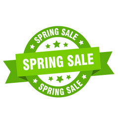 spring sale ribbon spring sale round green sign vector image