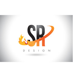 Sr s r letter logo with fire flames design and vector