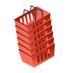 stack of red basket icon isometric style vector image
