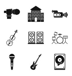 Stage performance icons set isometric style vector