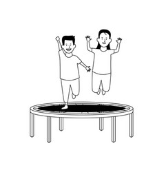 swing horse playground game in black and white vector image
