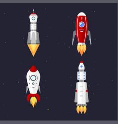 technology ship rocket cartoon design vector image