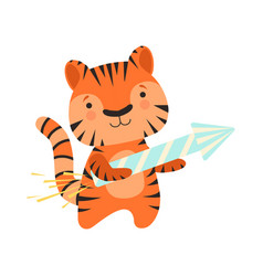 Tiger with a party popper cute cartoon animal vector