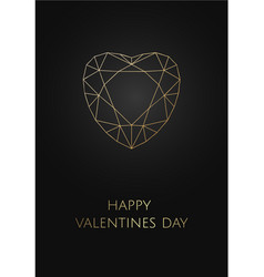 valentines card on black background with polygonal vector image