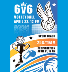 Volleyball sport team beach tournament vector