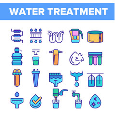Water treatment color line icons set vector