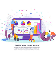 Website analytics reports concept flat vector