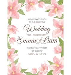 Wedding invitation magnolia sakura border frame vector