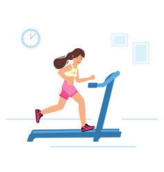 Woman running on motorized treadmill sportive vector