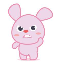 angry rabbit character cartoon vector image