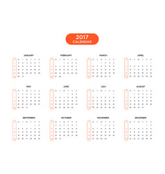 calendar 2017 for a year on white background vector image