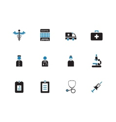 Hospital duotone icons on white background vector image vector image