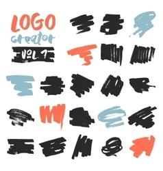 Set of 21 unique ink sketched shapes vector