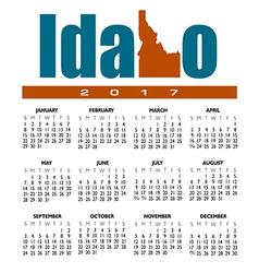 2017 Idaho calendar vector image vector image