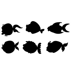 Black images of the different sea creatures vector image