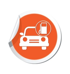 car with gas station icon orange label vector image vector image