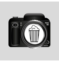 digital photo camera pop corn pin vector image