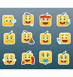 Kids smile stickers vector image vector image