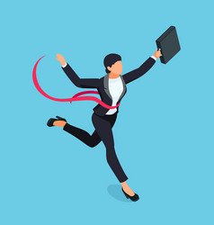 running businesswoman isolated on blue background vector image vector image