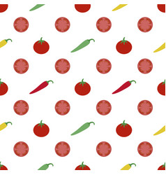 Tomatoes and peppers background vector