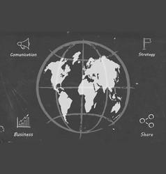 Business wolrd map blackboard sketch vector