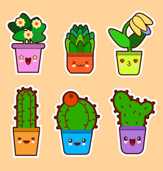 cute cartoon kawaii set of plant cactus vector image