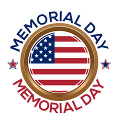 memorial day design golden round medallion vector image vector image