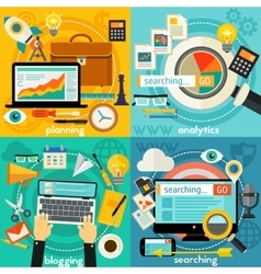 Planning Blogging Web Searching And Analytics vector image vector image