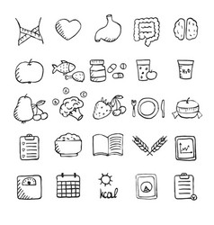 set of hand drawn healthy lifestyle icons set set vector image vector image