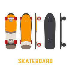 short skateboard bottom side and top view vector image vector image