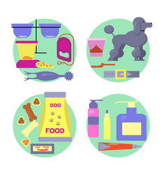 dog shop icons set vector image
