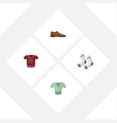 flat icon dress set of foot textile casual t vector image
