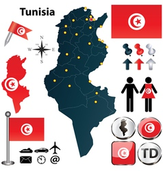 Map of Tunisia vector image vector image