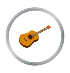 Mexican acoustic guitar icon in cartoon style vector image