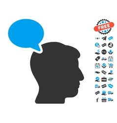 Person opinion icon with free bonus vector