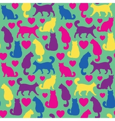 Seamless pattern with cats and hearts vector image
