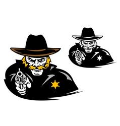 Sheriff with gun in cartoon mascot style vector image vector image