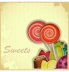 sweet candy on Retro background vector image vector image
