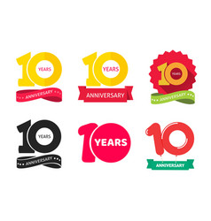 10 years anniversary logo icon or 10th year vector image