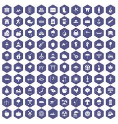 100 tree icons hexagon purple vector